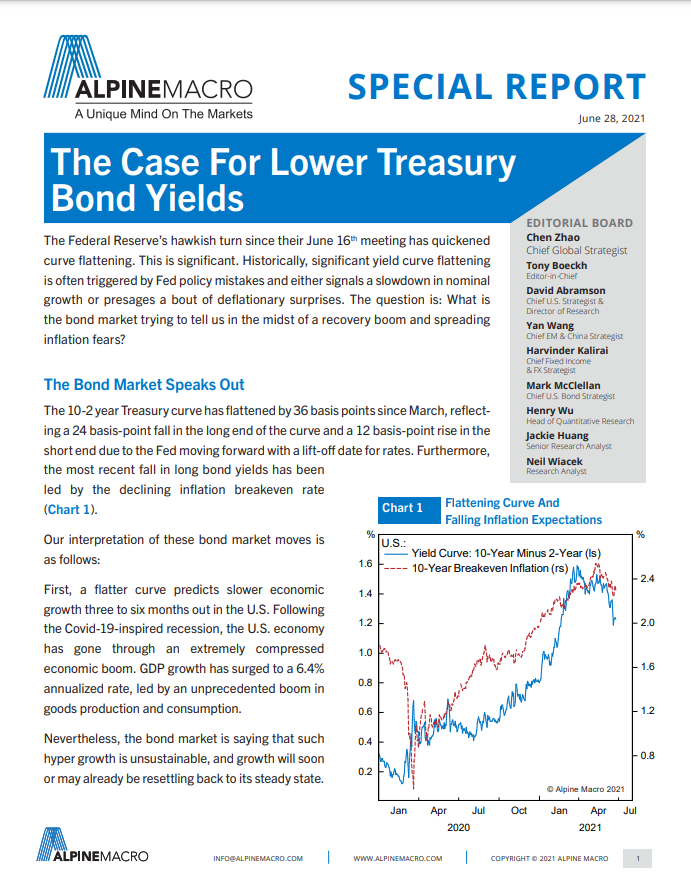 The Case For Lower Treasury Bond Yields